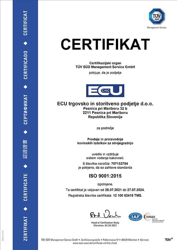 CNC struženje, CNC rezkanje, ISO certifikat